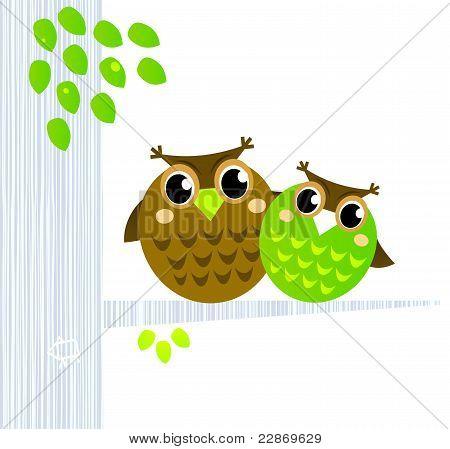 Two Cute Owls Sitting On The Branch Isolated On White.