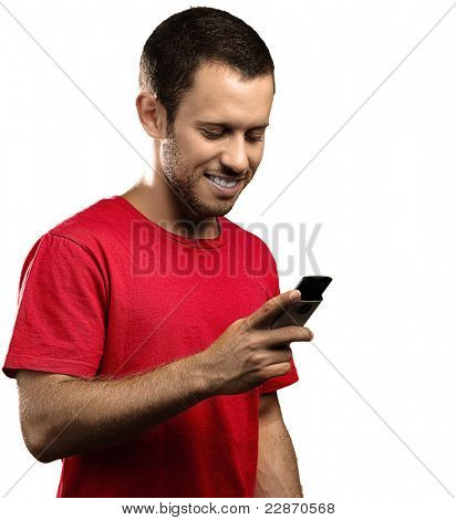 young man typing on mobile phone on white background