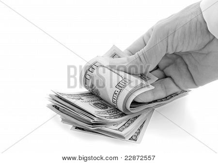 Hand Fingers Pile Of Dollars