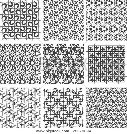 Set of black and white geometric patterns. background