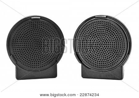 a pair of black portable speakers on a white background
