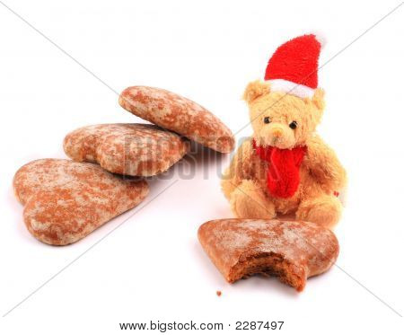 Teddy Bear And Pile Of Three Honey-Cakes