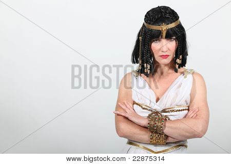 Studio shot of a very unhappy Cleopatra