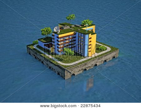 floating residential structure (3D concept)