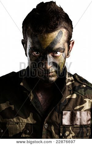 young soldier face with jungle camouflage paint on white background