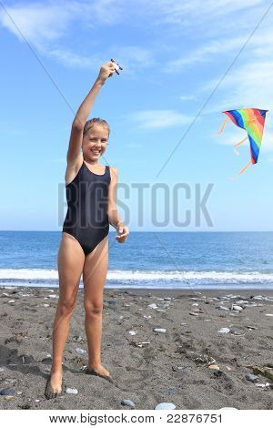 Girl Flies  Kite
