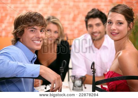 Family sat in restaurant