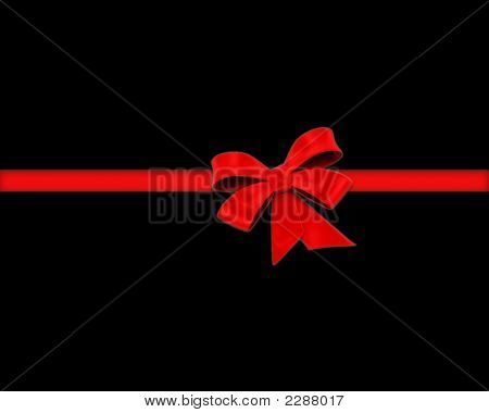 Red Ribbon And Bow - 3D Black Background