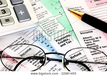 Business Concept, Financial Papers With Calculator, Glasses And Pen.