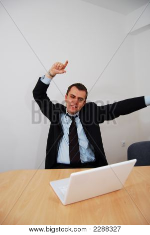 Successful Businessman Cheering