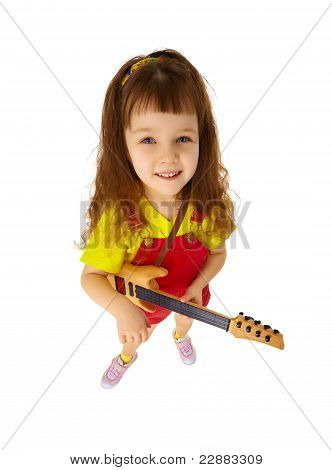 Funny Little Girl With Toy Guitar On White