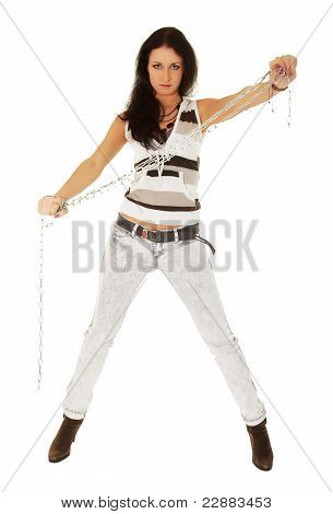 Girl With Chain On White Background