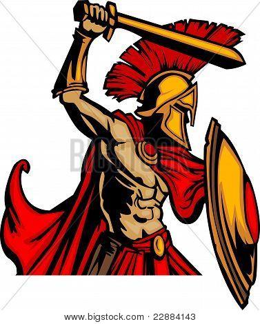 Trojan Maskottchen Körper mit Schwert und Schild