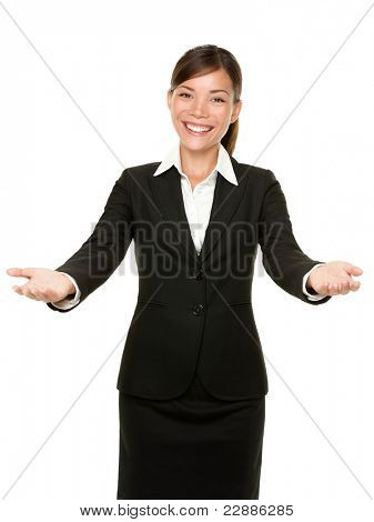 welcome gesture business woman smiling friendly and welcoming isolated on white background. Beautiful mixed race asian caucasian businesswoman model.