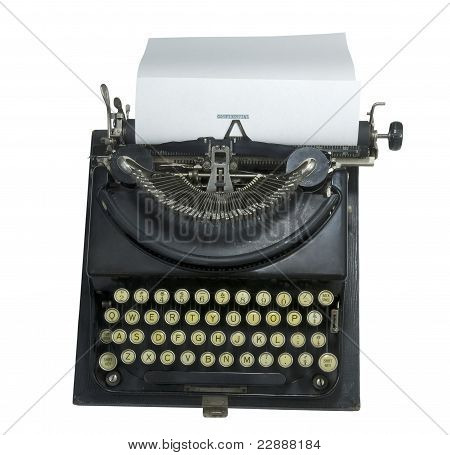 vintage manual typewriter with paper