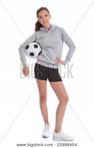 Happy Soccer Player Teenage Girl With Sports Ball