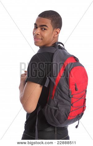 Black Teenage Student Boy School Bag On His Back
