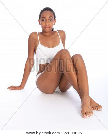 Young Black Woman Fit Body Wears Sports Underwear