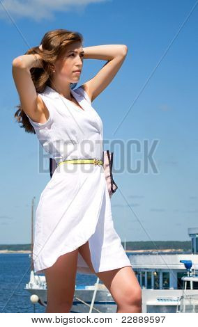 Girl Is Going To In Cruise, Vertical Composition.