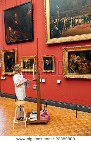 Interior And Vistors Of Louvre Museum, Paris, France