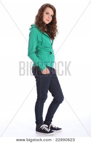 Cute Smile From Teenager School Girl In Hoodie