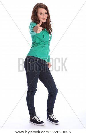 Teenager School Girl In Hoodie Thumbs Up Success