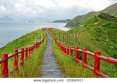 hiking path with pavillion
