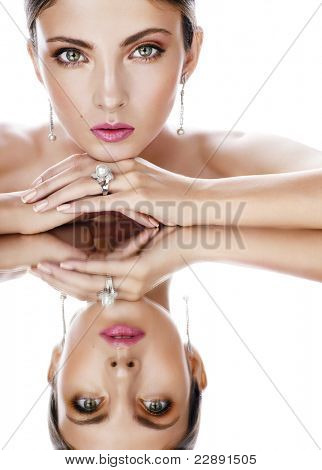 Beautiful woman with diamond jewelry