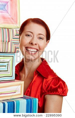 Happy Woman With Many Gifts