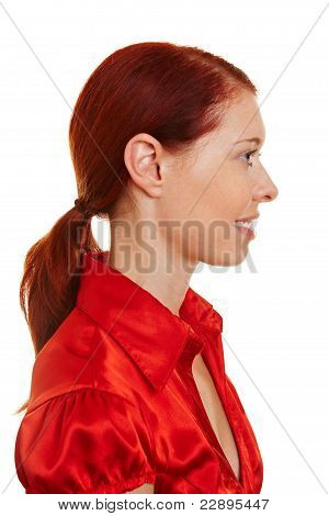 Profile View Of A Redhaired Woman