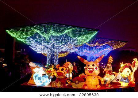Un festivo linterna Mostrar en Miaoli, Taiwán, 26 de febrero