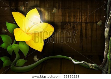 Yellow Flower with a Light Bulb growing and shining