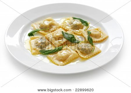ravioli pasta with sage butter sauce , italian food