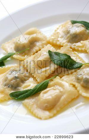 ravioli pasta with sage butter sauce , italian food