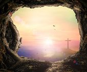 Good Friday Concept: Empty Tomb Stone And The Cross Sunset Background poster