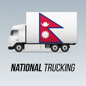 Symbol Of National Delivery Truck With Flag Of Nepal. National Trucking Icon And Nepalese Flag poster