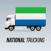 Symbol Of National Delivery Truck With Flag Of Sierra Leone. National Trucking Icon And Flag Colors poster