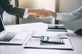Teamwork Process, Image Of Business Team Greeting Handshake. Successful Business People Handshaking  poster