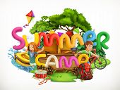 Summer Camp. Camping And Adventure, Summer Holiday 3d Vector Illustration poster