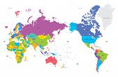 Colorful Political Map Of The World With Large Cities, High Detail Vector Illustration poster