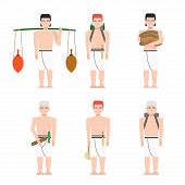 Ancient Egypt Workers Set In Flat Style, Ancient Egypt Builders At Work Illustration, Man At Work, G poster