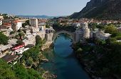 stock photo of mosk  - Photo of the old bridge in Mostar connecting the bosnian and croats sides - JPG