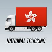 Symbol Of National Delivery Truck With Flag Of Hong Kong. National Trucking Icon And Flag Design poster