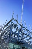 White Structural Steel Framework For New Building Against Deep Blue Sky. poster