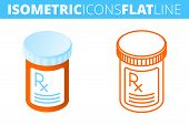 The Pill Bottle. Isometric Flat And Outline Icon Set. The Pharmacy, Medicine, Cure, Drug, Orange Con poster