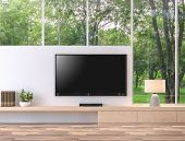Empty Television Screen With Nature View 3d Render.there Are Wood Floor,wood Shelf And White Wall. T poster