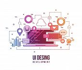 Flat Illustration For Ui-ux Design, Web Design, Mobile Apps Development. Modern Flat Colorful Line D poster