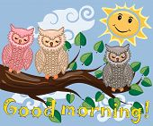 An Unhappy, Sleepy Owl On A Tree Branch In The Morning, The Sun Shines And Smiles. Inscription Good  poster