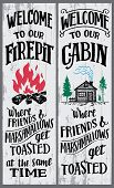 Welcome To Our Firepit And Cabin Signs Set. Where Friends And Marshmallows Get Toasted. Hand-drawn T poster