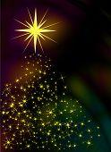 stock photo of christmas star  - Sparkling stars forming an illuminated christmas tree - JPG
